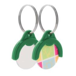 Token kulcstartós bevásárlókocsi érme, zöld