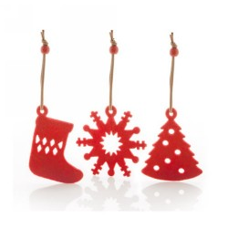 Sensi karácsonyfadísz szett, piros