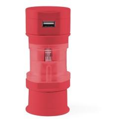 Tribox utazó adapter, piros