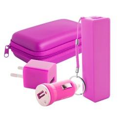 Rebex USB töltő és power bank szett, pink