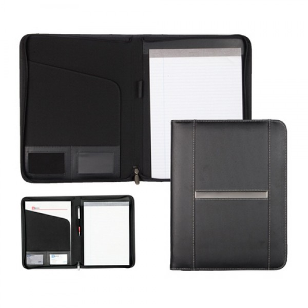 Durham A4-es bőr mappa jegyzettömbbel, fekete