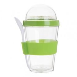 Bircher pohár kanállal, zöld