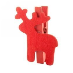 Hantala karácsonyi csipesz, rénszarvas, piros