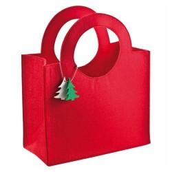 Filc táska, fenyőfa kiegészítővel, piros