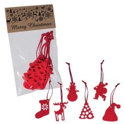 6 db karácsonyfadísz filcből, piros