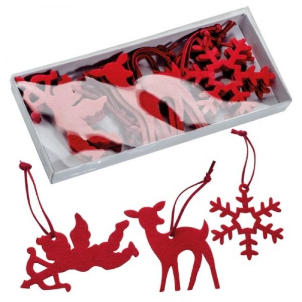 12 db karácsonyfadísz, piros