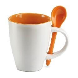 DUAL Csésze kiskanállal , narancssárga