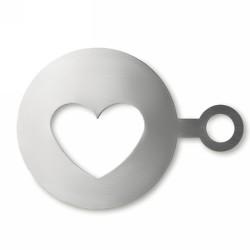 COFFEE HEART Szív alakú kávédíszítő, matt ezüst
