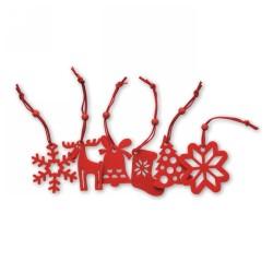 6 db filc karácsonyfadísz, piros
