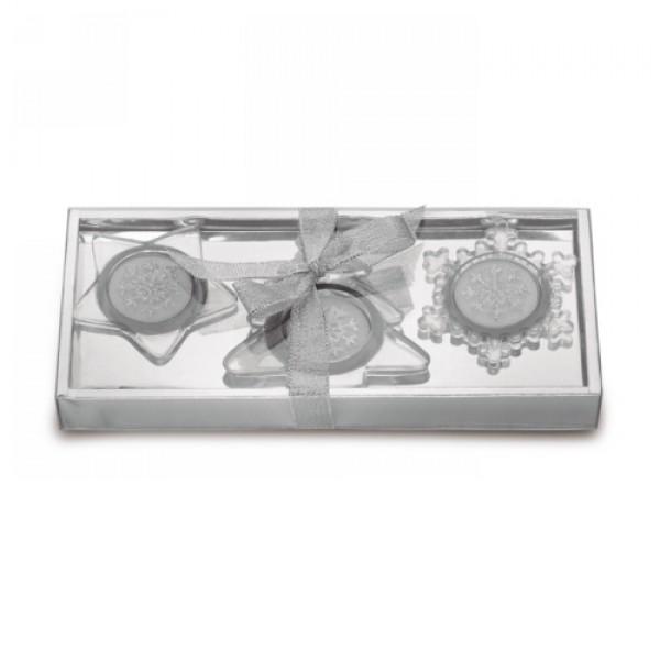 3 db-os gyertyatartó szett, matt ezüst