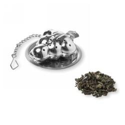 Karácsonyfa alakú teatojás, matt ezüst