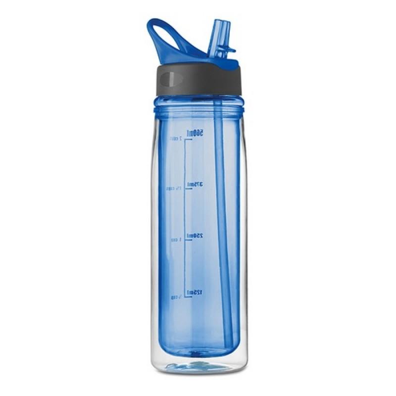 Kulacs 550 ml, duplafalú,  összehajtható szívószállal, kék