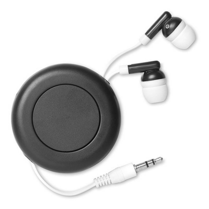 Kihúzható fülhallgató, fekete